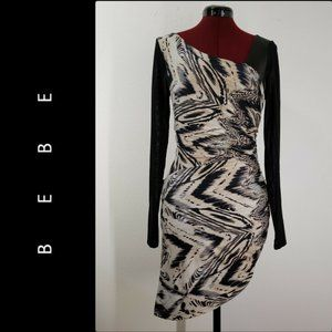 Bebe Woman Asymmetrical Body Con Dress Size Medium